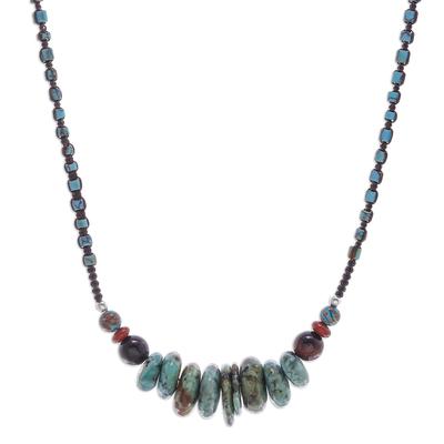 Multi-gemstone macrame pendant necklace, 'Persephone' - Handmade Macrame Multi-Gemstone Pendant Necklace