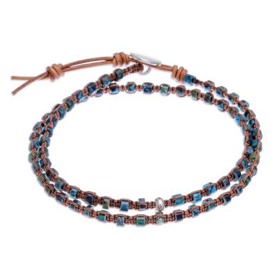 Macrame wrap bracelet, 'Peace Like a River' - Hand Knotted Macrame Leather Wrap Bracelet