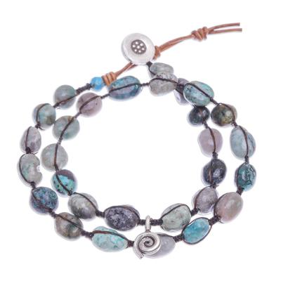 Macrame wrap bracelet, 'Spiraling Shores' - Hand Made Macrame and Karen Silver Wrap Bracelet