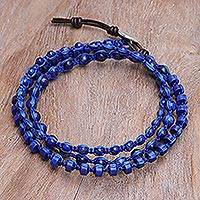 Lapis lazuli macrame wrap bracelet, 'Cosmic Wisdom' - Hand Knotted Macrame Lapis Lazuli Wrap Bracelet