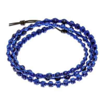 Hand Knotted Macrame Lapis Lazuli Wrap Bracelet