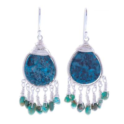 Jasper dangle earrings, 'Ocean Adventure' - Hand Made Jasper and Sterling Silver Dangle Earrings