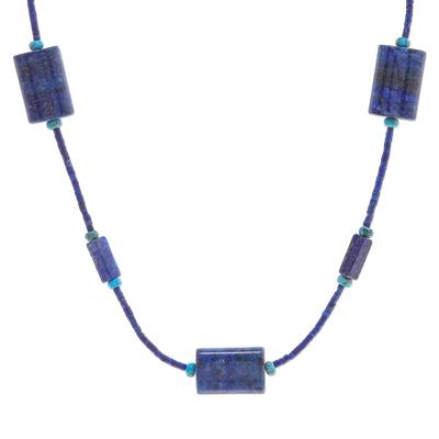 Lapis lazuli and jasper beaded necklace, 'Midnight Chill' - Lapis Lazuli and Jasper Beaded Necklace from Thailand