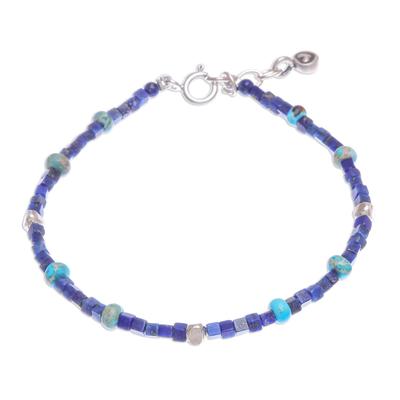 Lapis lazuli and jasper beaded bracelet, 'Blue Cubed' - Hand Made Lapis Lazuli and Jasper Beaded Bracelet