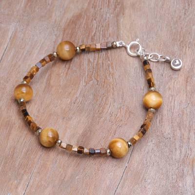 Tiger's eye and hematite beaded bracelet, 'Mental Clarity' - Handmade Tiger's Eye and Hematite Beaded Bracelet