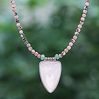 Rose gold-plated chalcedony pendant necklace, 'Pink Chill' - Rose Gold-Plated Rhodonite and Chalcedony Pendant Necklace