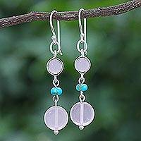 Quartz dangle earrings, 'Proudly Pink' - Quartz and Sterling Silver Dangle Earrings