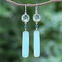 Rhodium-plated chalcedony and chrysocolla dangle earrings, 'Ice Queen' - Rhodium-Plated Chalcedony and Chrysocolla Dangle Earrings