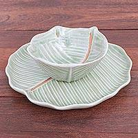 Celadon ceramic dinnerware set, 'Green Leaves' (pair) - Celadon Ceramic Banana Leaf Plate and Bowl Set (Pair)