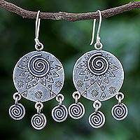 Sterling silver dangle earrings, 'Tribal Sign' - Hand Crafted Sterling Silver Geometric Motif Dangle Earrings