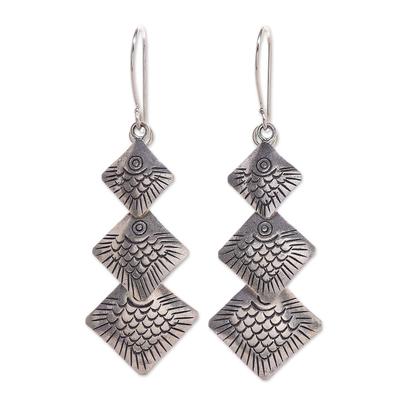 Handmade Sterling Silver Fish-Themed Dangle Earrings