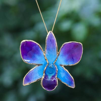 Gold-accented orchid petal pendant necklace, 'Orchid Magic in Blue' - Gold-Plated Blue Orchid Petal Pendant Necklace and Brooch
