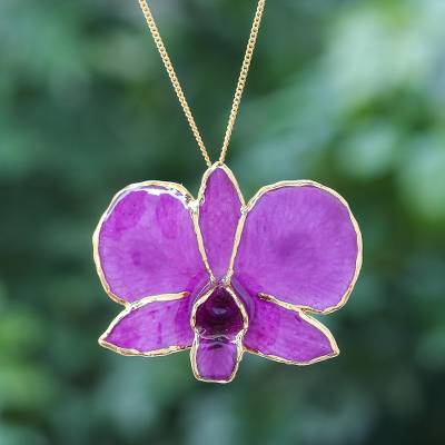 Gold-accented orchid petal pendant necklace, 'Orchid Magic in Fuchsia' - Gold-Plated Fuchsia Orchid Petal Pendant Necklace and Brooch