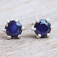 Sapphire stud earrings, 'Catch a Star in Blue' - Hand Made Sapphire and Sterling Silver Stud Earrings