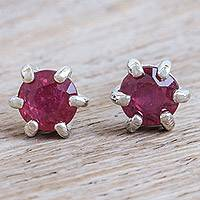 Ruby stud earrings, 'Catch a Star in Pink' - Handmade Ruby and Sterling Silver Stud Earrings