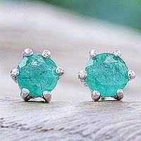 Emerald stud earrings, 'Catch a Star in Green' - Hand Crafted Emerald and Sterling Silver Stud Earrings