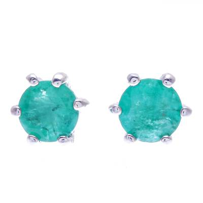 Hand Crafted Emerald and Sterling Silver Stud Earrings