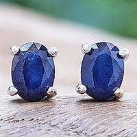 Sapphire stud earrings, 'Blue Twilight' - Sapphire and Sterling Silver Stud Earrings from Thailand
