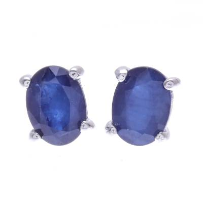 Sapphire and Sterling Silver Stud Earrings from Thailand