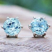 Blue topaz stud earrings, 'Catch a Star in Light Blue' - Artisan Crafted Blue Topaz and Sterling Silver Stud Earrings