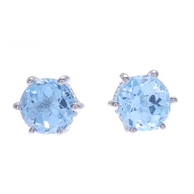 Artisan Crafted Blue Topaz and Sterling Silver Stud Earrings