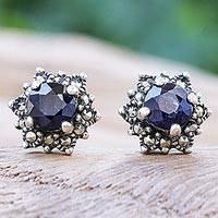 Sapphire and marcasite stud earrings, 'Firefly in Blue' - Hand Crafted Sapphire and Marcasite Stud Earrings