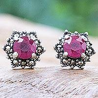 Ruby and marcasite stud earrings, 'Firefly in Pink' - Artisan Crafted Ruby and Marcasite Stud Earrings