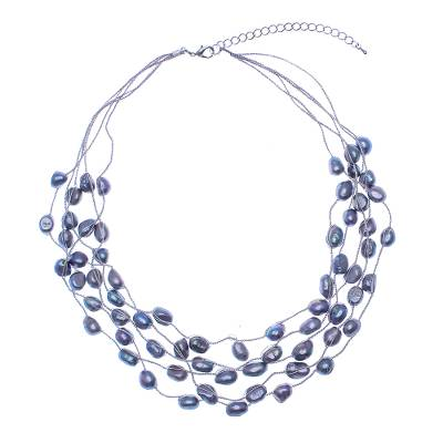 Cultured pearl station necklace, 'Secret Pearl in Grey' - Hand Crafted Cultured Freshwater Pearl Station Necklace
