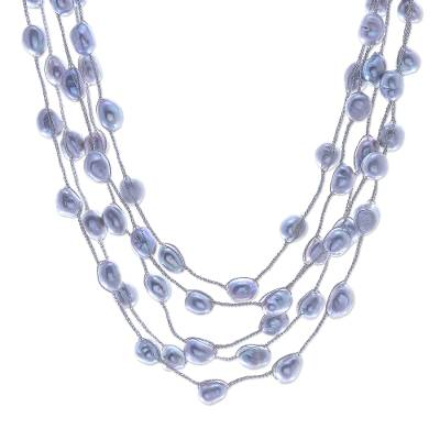 Cultured pearl station necklace, 'Secret Pearl in Light Grey' - Hand Made Cultured Freshwater Pearl Station Necklace