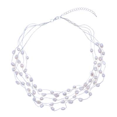 Cultured pearl station necklace, 'Secret Pearl in White' - Handmade Cultured Freshwater Pearl Station Necklace
