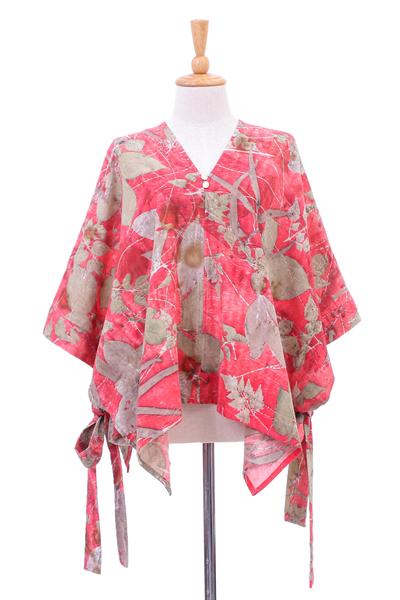 Hand-Printed Floral Motif Cotton Poncho