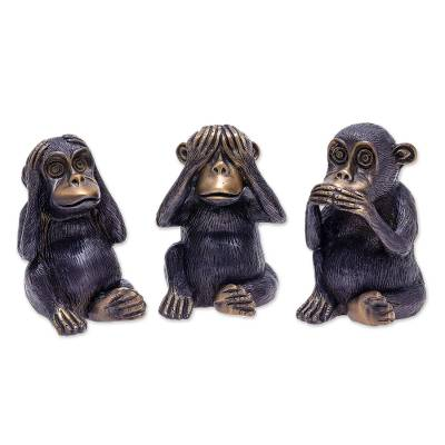 Hand Crafted Brass Monkey Sculptures (Set of 3)