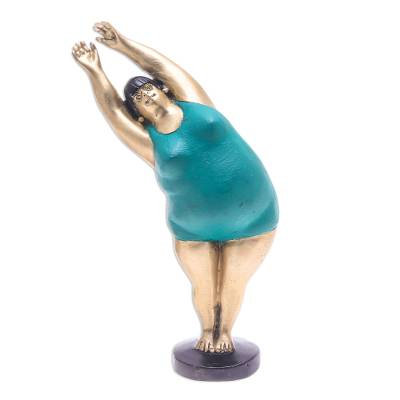 Hand Painted Brass Yoga-Themed Sculpture