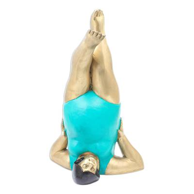 Hand Crafted Brass Yoga-Themed Sculpture from Thailand