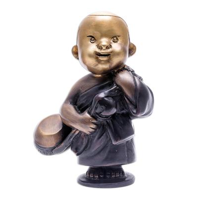 Handmade Brass Monk Sculpture from Thailand