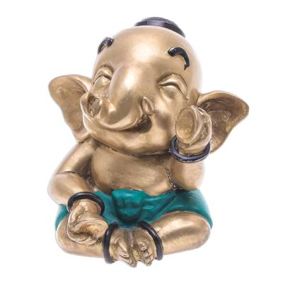 Hand Painted Brass Elephant Sculpture from Thailand