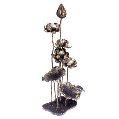 Antiqued Steel and Glass Lotus Flower Tealight Holder