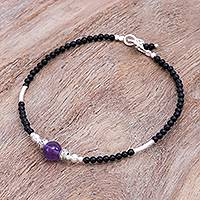 Amethyst and onyx beaded bracelet, 'Eternally in Black' - Artisan Crafted Amethyst and Onyx Beaded Bracelet