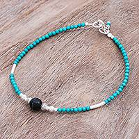 Agate beaded bracelet, 'Eternally in Teal' - Hand Threaded Agate and Karen Silver Beaded Bracelet