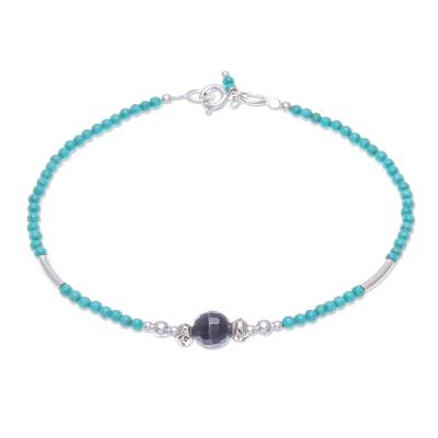Agate beaded bracelet, 'Eternally in Teal' - Hand Threaded Agate and Karen Silver Beaded Bracelet