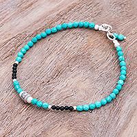 Onyx beaded bracelet, 'Nexus in Turquoise' - Hand Crafted Onyx and Karen Silver Beaded Bracelet
