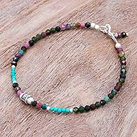 Tourmaline beaded bracelet, 'Nexus in Pink' - Hand Threaded Tourmaline and Sterling Silver Beaded Bracelet