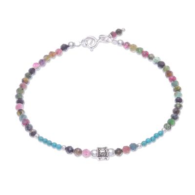 Tourmaline beaded bracelet, 'Nexus in Pink' - Hand Threaded Tourmaline and Sterling Silver Beaded Bracelet