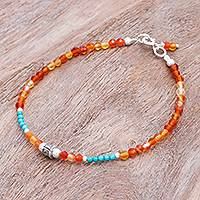 Carnelian beaded bracelet, 'Nexus in Orange' - Carnelian and Karen Silver Beaded Bracelet from Thailand