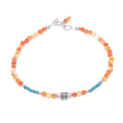 Carnelian beaded bracelet, 'Nexus in Orange' - Carnelian and Karen Silver Beaded Bracelet from Thailand