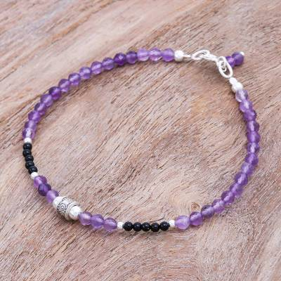 Amethyst and onyx beaded bracelet, Nexus in Purple
