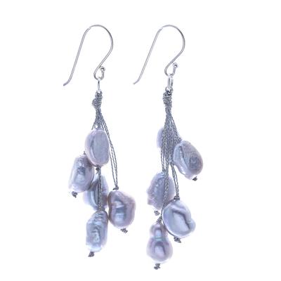 Cultured pearl dangle earrings, 'Mystic Pearl in Light Grey' - Hand Made Cultured Freshwater Pearl Dangle Earrings