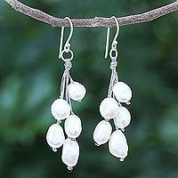 Cultured pearl dangle earrings, 'Mystic Pearl in White' - Handmade Cultured Freshwater Pearl Dangle Earrings