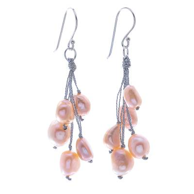 Cultured pearl dangle earrings, 'Mystic Pearl in Peach' - Artisan Crafted Cultured Freshwater Pearl Dangle Earrings