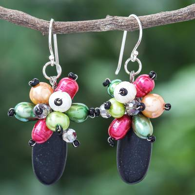 Agate and cultured pearl dangle earrings, 'Space Candy in Black' - Agate and Freshwater Cultured Pearl Dangle Earrings